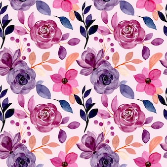 padrão floral roxo sem costura com aquarela