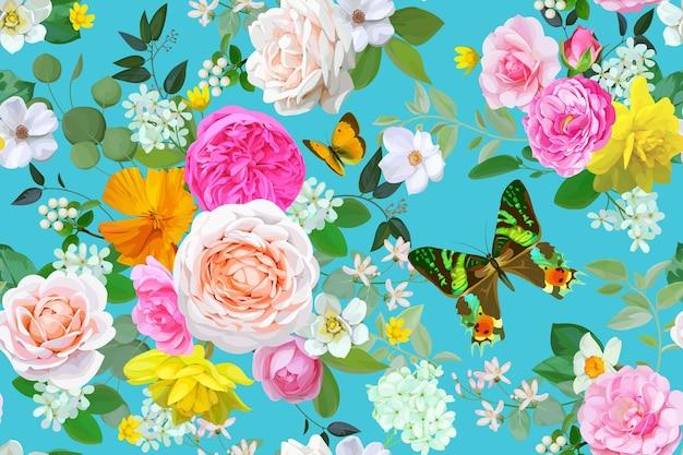 Padrão floral sem costura com borboleta