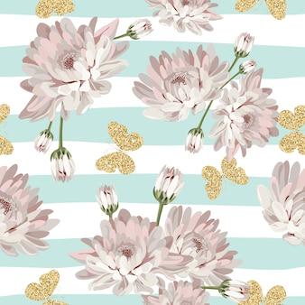 Padrão floral sem costura com borboletas brilhantes