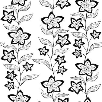 Padrão floral sem costura com contorno de flores e folhas de fundo