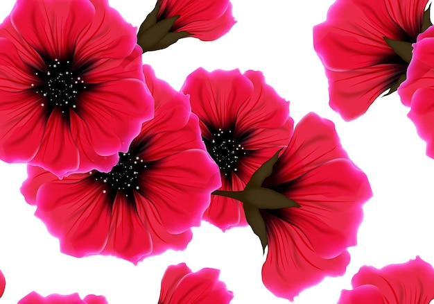 Padrão floral sem costura com flor vermelha