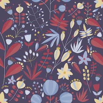 Padrão floral sem costura com flores e plantas em fundo escuro. ilustração tropical.