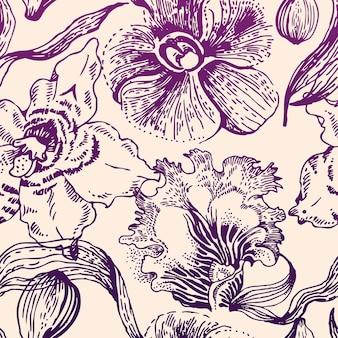 Padrão floral sem costura com orquídea