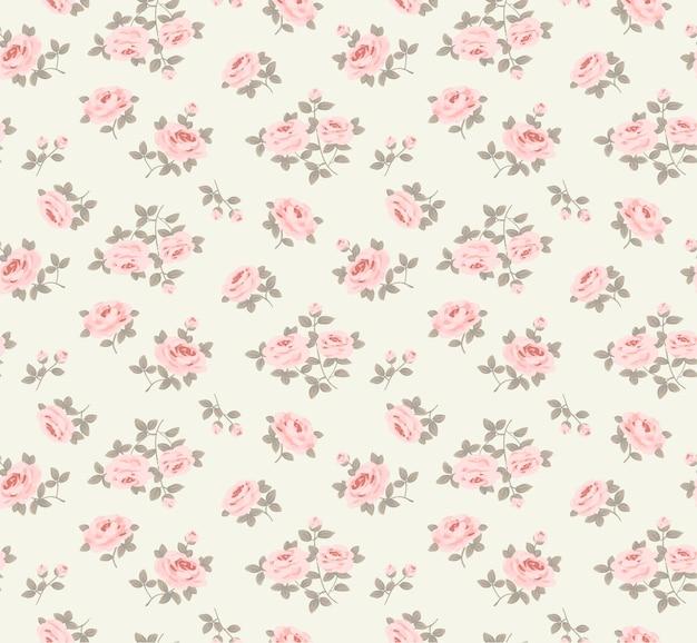 Padrão floral sem costura com pequenas rosas