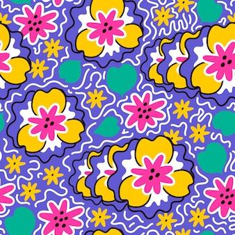 Padrão floral sem costura em cores brilhantes