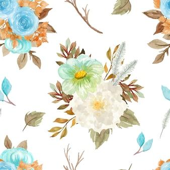 Padrão floral sem emenda com floral de outono Vetor grátis