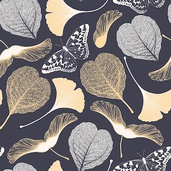 Padrão floral sem emenda de vetor com folhas de ginkgo biloba, borboletas e sementes de bordo