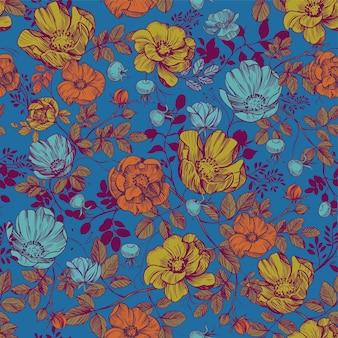 Padrão floral sem emenda design têxtil ilustração em vetor rosa mosqueta