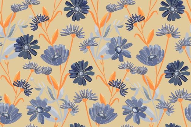 Padrão floral sem emenda. flores azuis isoladas