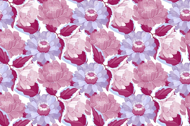 Padrão floral sem emenda. flores e folhas marrons, violetas, roxas e cor de vinho do jardim. lindas peônias, zínias.
