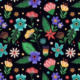 Padrão floral tropical pintado à mão