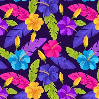 Padrão floral tropical pintado criativo