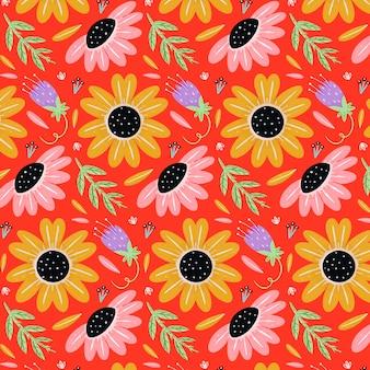 Padrão floral tropical pintado