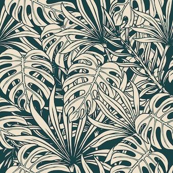 Padrão floral tropical sem costura com monstera e folhas de palmeira em estilo monocromático