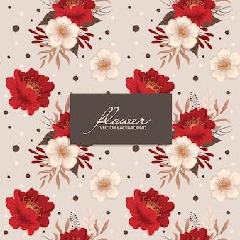 Padrão floral vermelho e bege sem costura