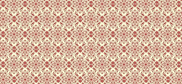 Padrão floral vermelho no fundo do vetor de estilo clássico