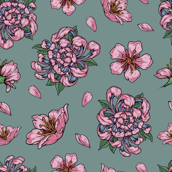 Padrão floral vintage sem costura com lindas flores japonesas cor de rosa e pétalas