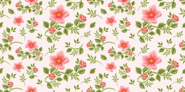 Padrão floral vintage sem costura de buquê de peônia vermelha, botões de flores e arranjos de ramos de folhas