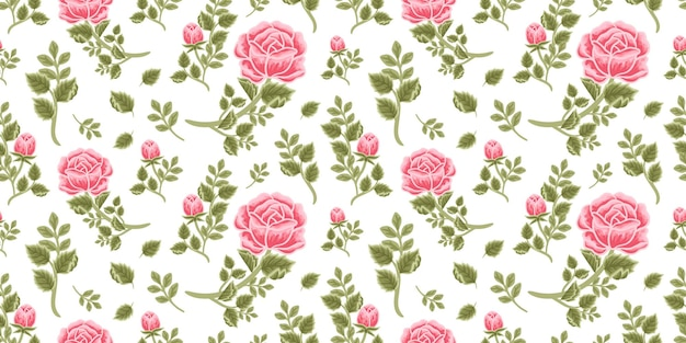 Padrão floral vintage sem costura de buquê de rosa rosa, botões de flores e arranjos de ramos de folhas
