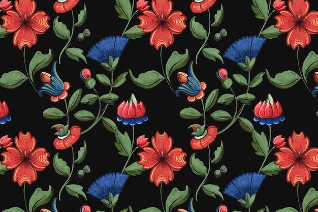 Padrão floral vintage vermelho e azul
