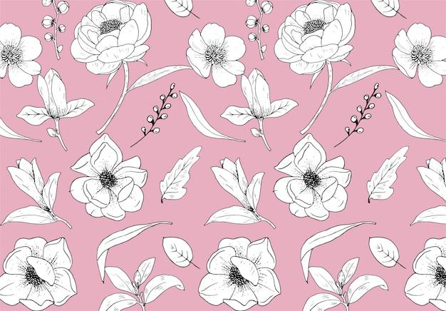 Padrão flores linha arte premium