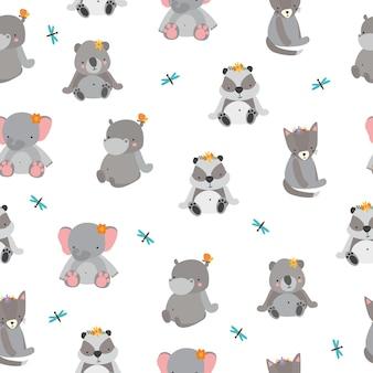 Padrão fofo com animais cinzentos