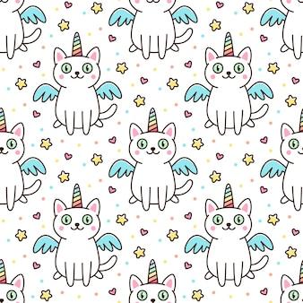 Padrão fofo com gato branco fantasiado de unicórnio com asas e chifre de arco-íris