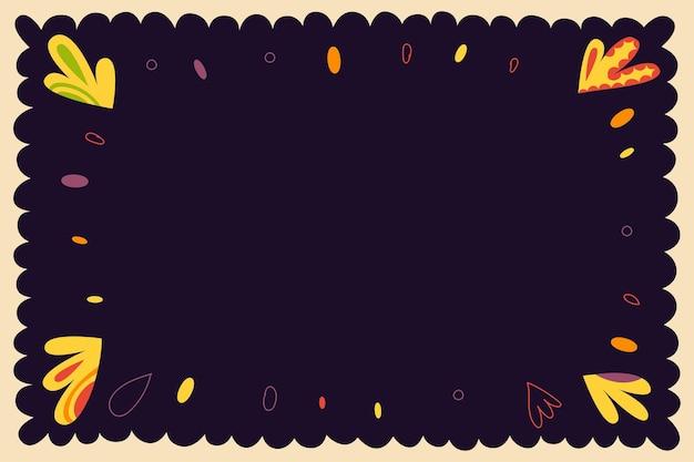 Padrão folclórico vintage de ondas e círculos coloridos dinâmicos quadro decorativo fundo gráfico retrô
