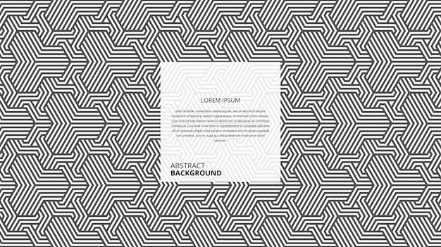 Padrão geométrico abstrato de linhas de vime hexagonais