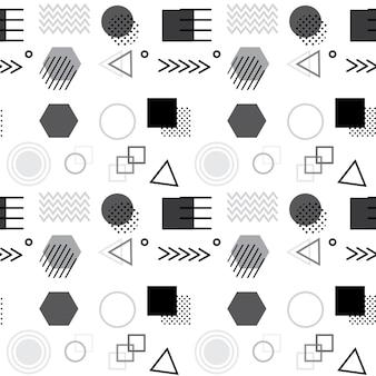Padrão geométrico abstrato sem costura com formas simples, como círculo, quadrado, pontos e linhas