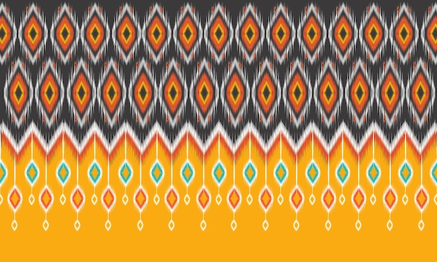 Padrão geométrico de ikat oriental étnico design tradicional para plano de fundo, tapete, papel de parede, roupas, embrulho, batik, tecido, estilo de illustration.embroidery do vetor.