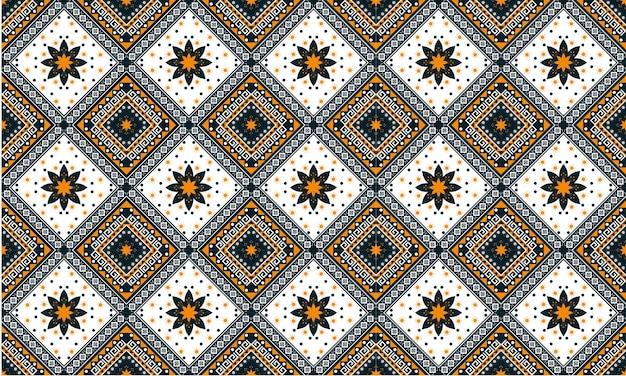 Padrão geométrico étnico oriental sem costura tradicional design para plano de fundo, tapete, papel de parede, roupas, embrulho, batik, tecido, estilo de illustration.embroidery do vetor.