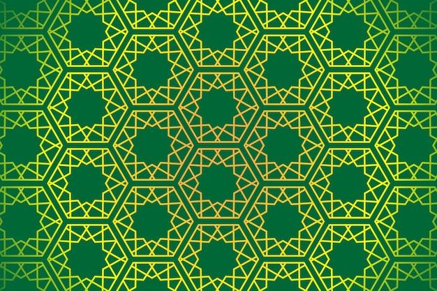 Padrão geométrico islâmico abstrato em contorno amarelo sobre fundo verde luxuoso.