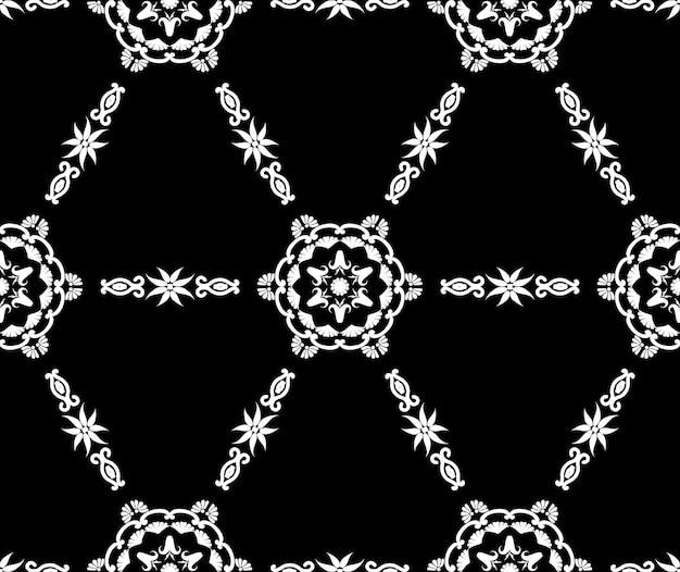 Padrão geométrico ladrilhado com ornamento fundo étnico árabe sem costura textura decorativa preto