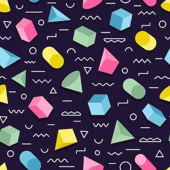 Padrão geométrico memhpis sem costura com formas geométricas de estilo de cores diferentes.