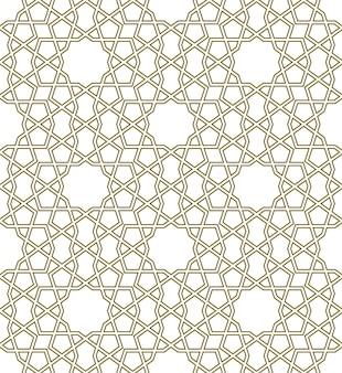 Padrão geométrico sem costura baseado em ornamento islâmico tradicional linhas contornadas