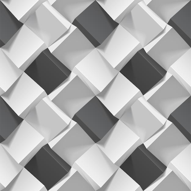 Padrão geométrico sem costura com cubos realistas em preto e branco