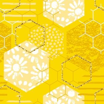 Padrão geométrico sem costura com favo de mel. texturas desenhadas à mão na moda.