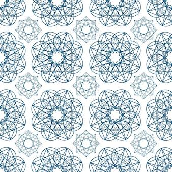 Padrão geométrico sem costura com formas circulares desenhadas com linhas de contorno azuis sobre fundo branco. cenário geométrico árabe. ilustração vetorial monocromática para papel de embrulho, impressão têxtil