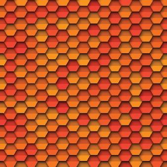 Padrão geométrico sem costura com papel cortado elementos hexagonais realistas nas cores laranja e vermelhos amarelos
