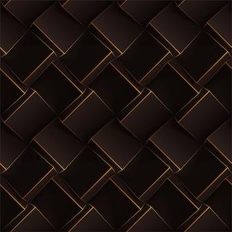 Padrão geométrico sem costura marrom escuro. cubos realistas com finas linhas laranja.