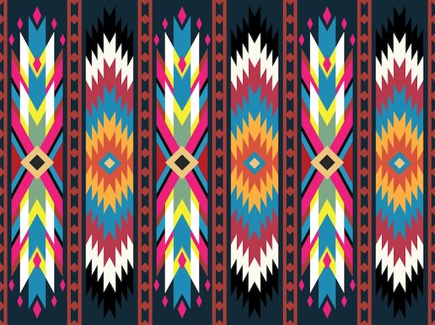 Padrão geométrico tribal sem costura têxtil textura étnica ilustração vetorial padrão oriental ikat design tradicional