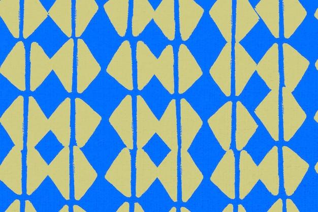 Padrão geométrico, vetor de fundo vintage têxtil em azul