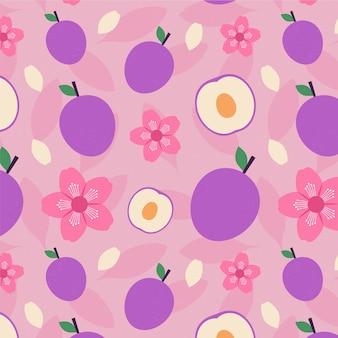 Padrão geométrico vintage de frutas e flores de ameixa