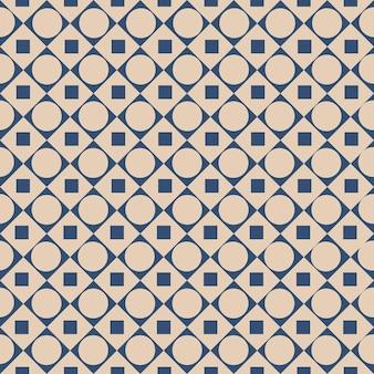 Padrão gráfico uniforme com formas abstratas de quadrados e círculos