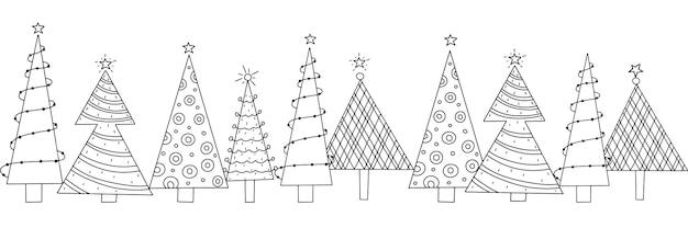 Padrão horizontal uniforme de véspera de ano novo de árvores de natal decoradas com estilo