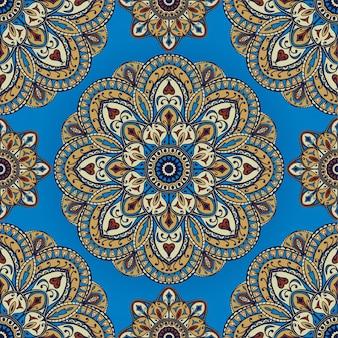Padrão indiano colorido com mandalas.