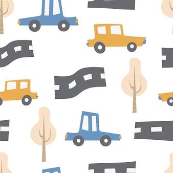 Padrão infantil com carros transporte estrada cor desenhada à mão sem costura repetindo crianças