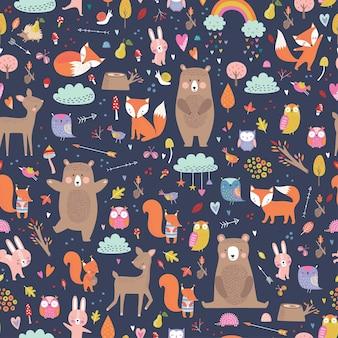 Padrão infantil sem costura com animais da floresta. cute veado, urso, guaxinim, raposa, personagens engraçados.