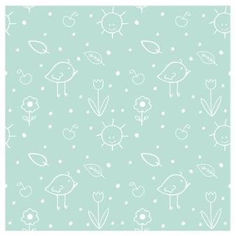Padrão infantil sem costura com desenhos animados doodle pássaros, flores, sol, folhas. textura de contorno verde criativo infantil para tecido, embalagens, têxteis, papel de parede, roupas. ilustração vetorial